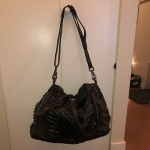 Burberry Lowry Black Patent Leather Ruffled Tote